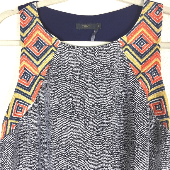 THML Embroidered Sleeveless Top with Open Back.
